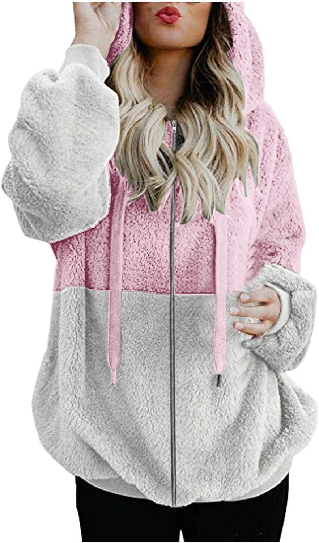 BEUU Womens Sherpa Pullover Hoodie Full Zip Up Colorblock Oversized Fuzzy Fleece Sweatshirt Plus Size Jacket with Pocket