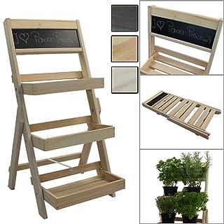 Escalera para flores de madera FSC® 74 x 39 x 40 cm con pizarra - Estantería para flores de madera impregnada resistente a la intemperie y durable, Color:Natural