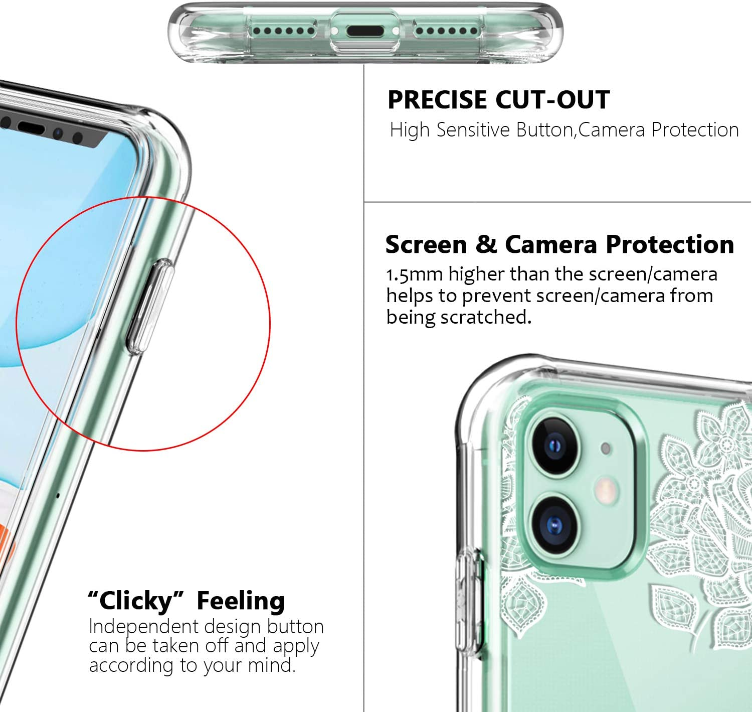 SKYLMW iPhone 11 Case 2019 6.1 inch Clear Built in Screen Protector Full Body Shockproof Dual Layer Protective Hard Plastic Soft TPU with Phone Cover with Fashion Design for Women Girls,Lace Flowers