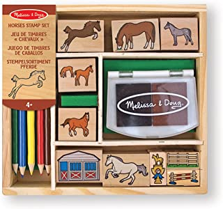 Melissa & Doug Wooden Stamp Activity Set: Horse Stable - 10 Stamps, 5 Coloured Pencils, 2-Colour Stamp Pad