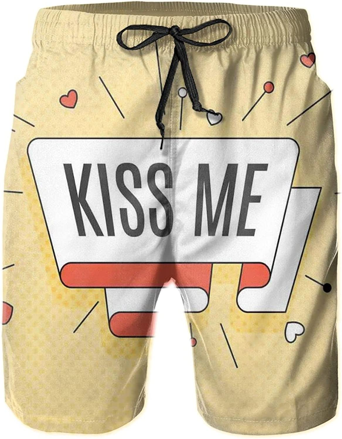 Retro Quote On A Swirled Stripe with Hearts On Halftone Background Mens Swim Trucks Shorts with Mesh Lining,M
