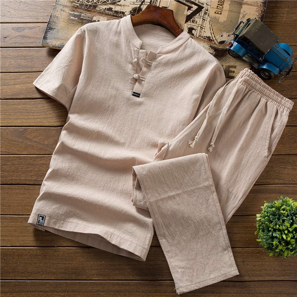 TOPUNDER Men Summer New Cotton and Hemp Short Sleeve Long Pants Fashion Comfortable Suit