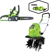 Greenworks 12-Inch 40V Cordless Chainsaw, Battery Not Included 20292 with  10-Inch 40V Cordless Cultivator, 4.0 AH Battery Included 27062