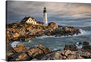 Scott Stulberg Solid-Faced Canvas Print Wall Art Print Entitled Portland Maine Lighthouse at Sunrise 36