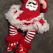 iEFiEL 4tlg Baby Kleidung Set M/ädchen Weihnachtsoutfit Baby Kleid T/üt/ü Bodys Strampler Stirnband Beinw/ärmer Schuhe