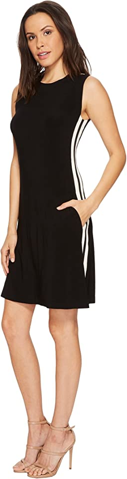 KAMALIKULTURE by Norma Kamali Side Stripe Sleeveless Swing Dress