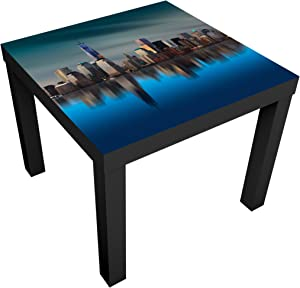 Bilderwelten Table Basse Design - New York World Trade Center - 55x55x45cm, Couleur de la Table: Table de Noir, Dimension: 55 x 55 x 45cm