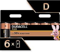 Duracell Plus D Alkaline Batteries, 1.5 V LR20 MN1300, Pack of 6