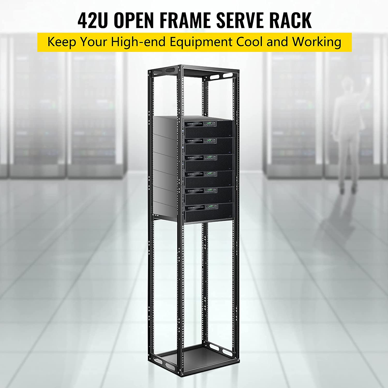 VEVOR Server Rack, 42U Open Frame Rack, 4-Post IT Server Network Relay Rack, 19 Inch Server/Audio Network Equipment Rack Cold Rolled Steel, Heavy Duty Threaded Rack, Holds Network Servers & AV Gear