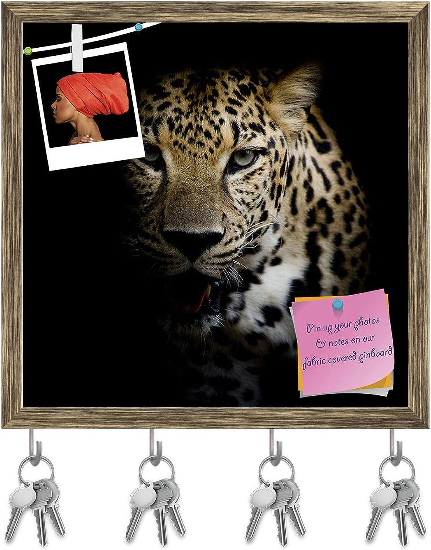 Artzfolio Close Up Leopard Portrait Key Holder Hooks   Notice Pin Board   Antique golden Frame 20 X 20Inch