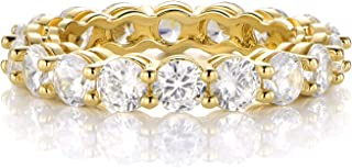 18K Yellow Gold Filled Cubic Zirconia Eternity Band Ring for Women