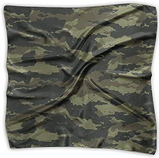 Dark Green Camouflage Womens Large Square Satin Head Bandanas Silk Like Neckerchief