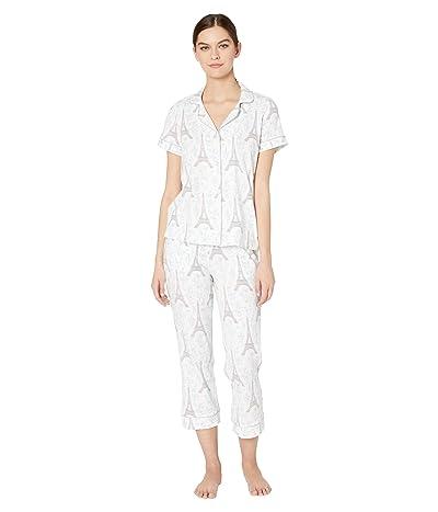 BedHead Pajamas Short Sleeve Cropped Pajama Set (Blue Eiffel) Women