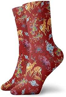 Calcetines deportivos transpirables para hombres y mujeres Calcetines tobilleros Retro Elk Calcetines de compresión de vestido corto 30 cm