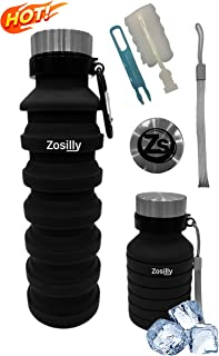 ZoSilly Collapsible Water Bottle, Lightweight Reusable BPA Free Silicone for Travel Sports Gym Camping Hiking, Portable with Carabiner, Handstrap and Cleaning Brush