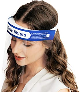 ?US STOCK?50PCS Safety Face Shield Reusable Full Face Transparent Breathable Visor Windproof Dustproof Hat Shield Protect Eyes And Face With Protective Clear Film Elastic Band