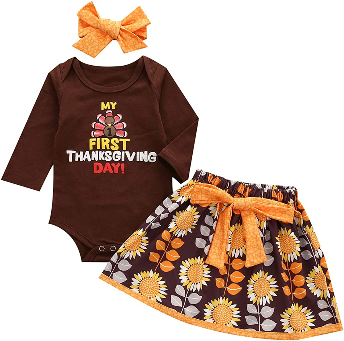My Frist Thanksgiving Baby Girls Skirt Set Outfit Long Sleeve Turkey Romper+Floral Skirt+Headband Autumn Outfit