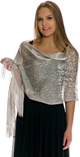Shawls and Wraps for Evening Dresses - Sheer Bridal Womens Scarves for Prom, Wedding, Party - Scarfs for Women with Fringe - Silver Scarf by Petal Rose
