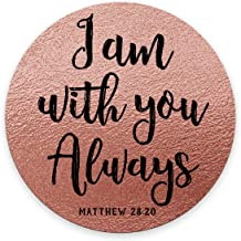 Smooffly Round Mouse Pad Bible Verses Scripture Quotes I am You Always, Rose Gold Background Print Art Mousepad Mat Size 7.9 x 7.9 x 0.12 Inch