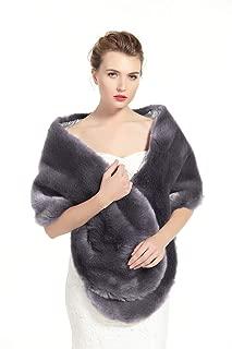 BEAUTELICATE Women's Faux Fur Shawl Stoles Wrap for Bridal/Wedding/Party