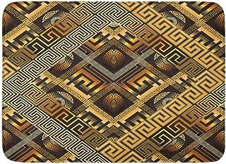 玄関の敷物の敷物屋外/屋内ドアマット現代の蛇行抽象的ブラックゴールドギリシャのキー3D幾何学的図形菱形フレームジグザグフィギュア華やかなバスルームの装飾の敷物バスマット