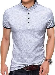 KUYIGO Men's Casual Slim Fit Shirts Pure Color Short Sleeve Polo Fashion T-Shirts