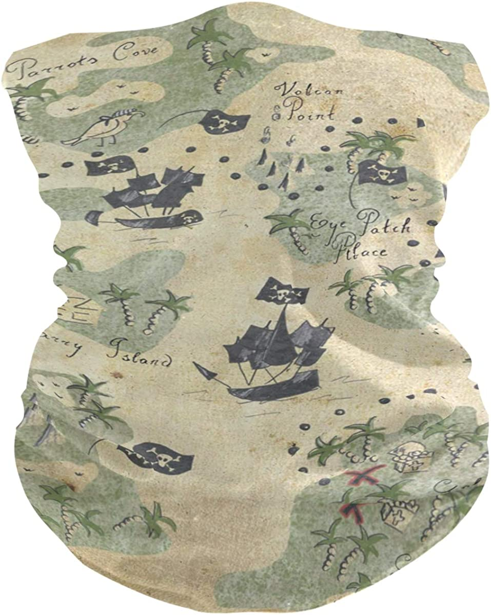 Protection Anti Droplet Pirate Map Face Mask Summer UV Neck Gaiter Scarf Sunscreen Breathable Bandana for Sport Outdoor