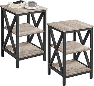 Yaheetech Lot de 2 Table de Chevet Table d'Appoint Vintage/Industriel avec 3 Etagère de Rangement Bout de Canapé en Bois M...