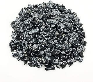 favoramulet Snowflake Obsidian Tumbled Stone Chips, Polished Crushed Healing Crystal Quartz Pieces Vase Filler 1 LB
