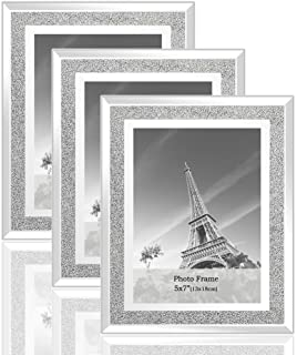 Best meetart Sparkle Crystal Silver Glitter Mirror Glass Photo Frame for Photo Size 5x7 Pack of 3 Piece Review