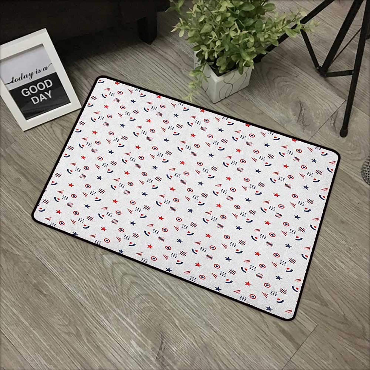 Pool anti-slip door mat W31 x L47 INCH USA,Fourth of July Independence Day Traditional Abstract Square Forms Illustration, Indigo Red White Easy to clean, no deformation, no fading Non-slip Door Mat C