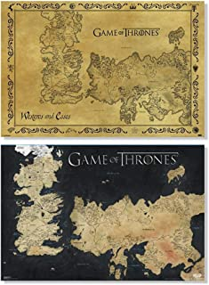 Pyramid America Set of 2 Game of Thrones Westeros Essos Vintage Map Fan Collection Posters Set Bundle 24x36 inch