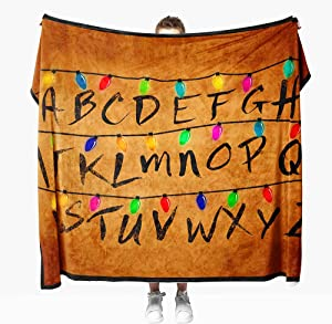 50x60 Flannel Fleece Blankets and Throws, Home Decor Sofa Blanket Comfort Warmth Soft Plush Throw for Couch Christmas Lights Alphabet from Stranger Letter Things