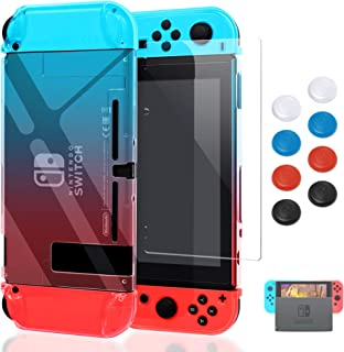 Case for Nintendo Switch,Fit The Dock Station, Protective Accessories Cover Case for Nintendo Switch and Joy-Con Controller - Dockable with a Tempered Glass Screen Protector,Crystal Clear Red & Blue