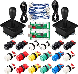 EG STARTS Classic Arcade Game DIY Part for Mame USB Cabinet 2X Zero Delay USB Encoder to PC Games + 2X 8 Way Joystick + 18x Arcade Push Button (Including 1p / 2p Start Buttons) Multiple Colour Kits