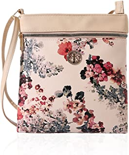 Crossbody Bag Multi Zipper Pocket Bag Flower Design Handbag Purse for Women Shoulder Bag