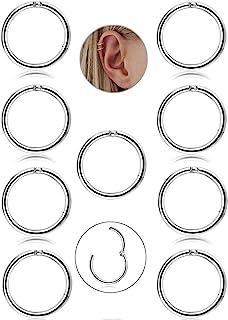 Besteel 9 Unids 16G de Acero Inoxidable Nariz Piercing Aro Pendientes para Las Mujeres Niñas Anillo de Piercing de Nariz P...