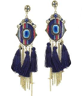 9blings Designer Yellow Marble Finish Crystal Long Dangle Earring