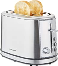 Andrew James Toaster 2 Slice Stainless Steel with Defrost & Reheat Settings | 6 Browning Levels Warming Rack Crumb Tray Anti Jam Lever Generous Slots & Centring Guards for Even Toasting | 850W