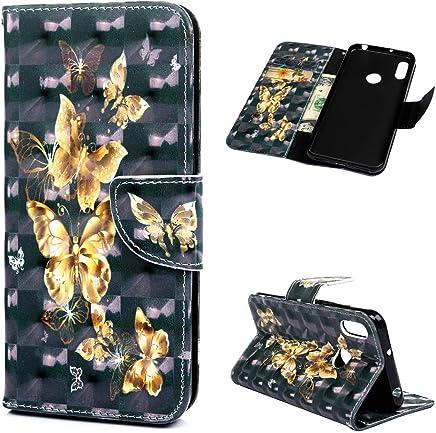 Huawei Y6 2019 H�lle Lader Tasche PU Lader H�lle Gemalt Muster Flip Brieftasche Kartenhalter Magnetschnalle St�nder Sto�fest Kratzfest Sto�stange Handyh�lle Kingdee fliegen