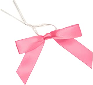 Juvale 100-Piece Pink Satin Twist Tie Ribbon Bow, 2.5 x 3 Inches
