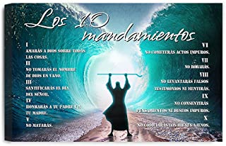 IPIC - The Ten Commandments(Spanish). Giclee Canvas Print Wall Art for Home Decor and Wall Decor.24#P (30x20 x1.5)