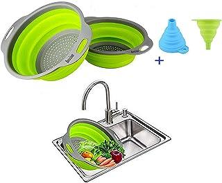 Ruesious Set de 2 Coladores Plegables (Coladores), Colador de Cocina de Silicona de Calidad Alimentaria Colador Plegable de Ahorro de Espacio, Tamaño de 9.5 Pulgadas y 8 Pulgadas (Verde)
