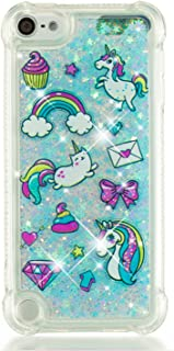 Tznzxm iPod 5 / iPod 6 Case Fashion Cartoon Design Glitter Liquid Floating Bling Sparkle Quicksand Case for Girls Children Shockproof Protection Bumper for iPod Touch 5 6th Rainbow Horse