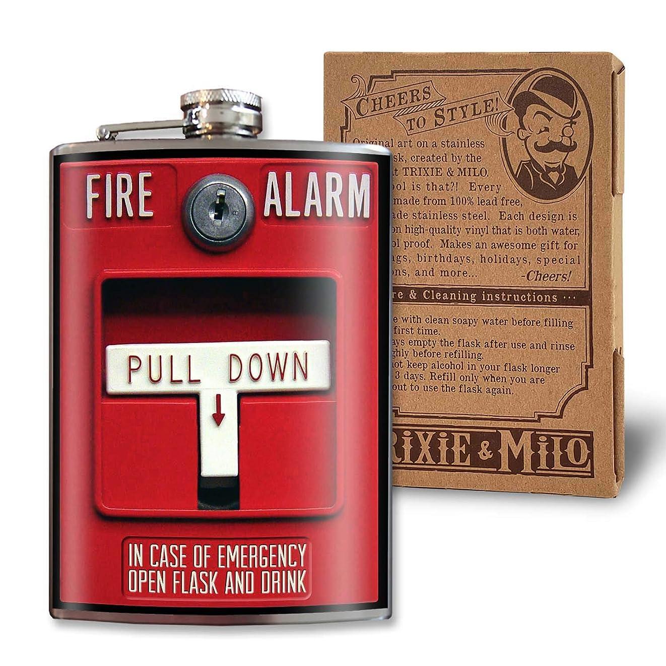 最愛のマーチャンダイザーマーケティングTrixie & Milo 火災警報 緊急 面白い ノベルティフラスコ 8オンス ステンレススチール製 ギフトボックス入り