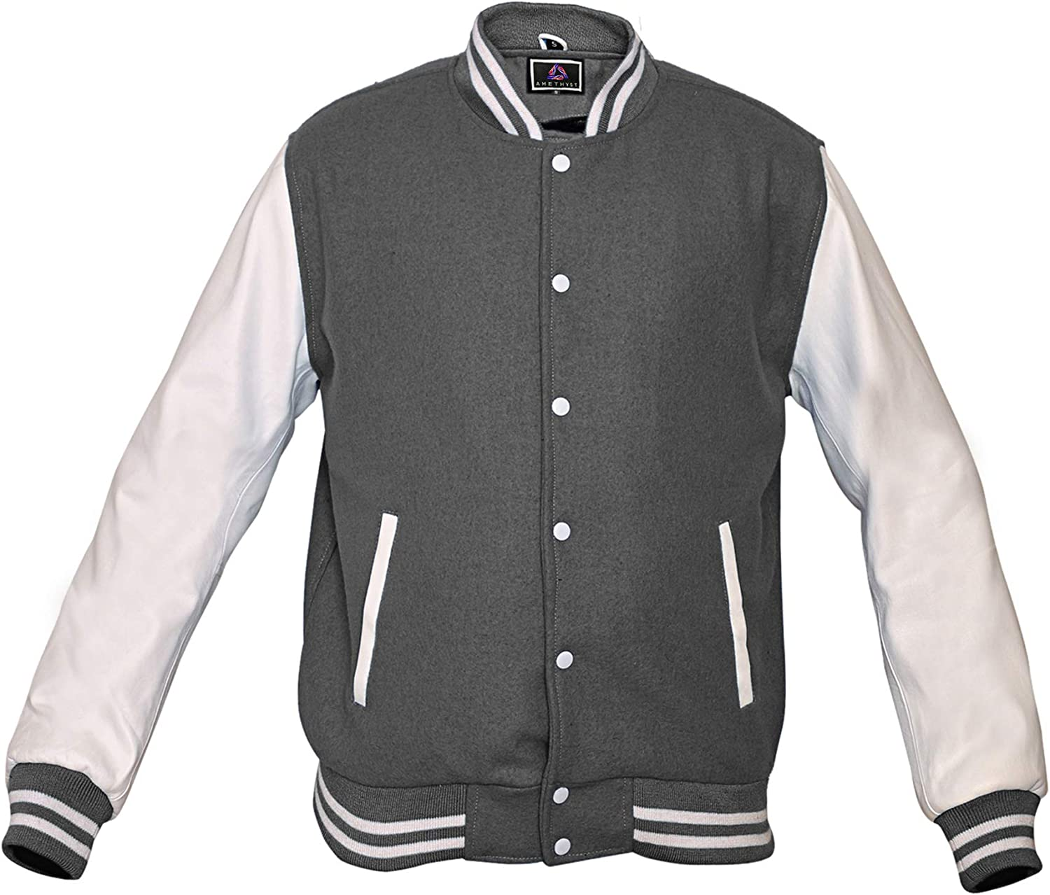 AMETHYST Baseball Varsity College Letterman Jacket, White Leather Sleeves & Gray Wool Body, Size X-Small