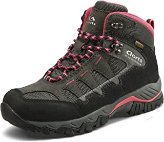 Clorts Women's Mid Waterproof Hiking Boot Suede Leather Hiker Lightweight Outdoor Backpacking Shoe