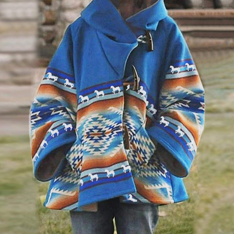 Womens Coat Winter Casual Printed Long Sleeve Claw Wool Blend Beth Dutton Coat Fleece Pea Coat Hooded Outwear Jacket