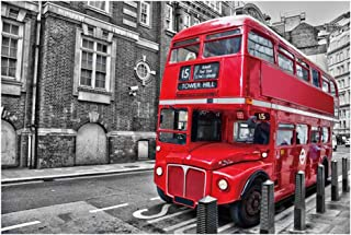 300/500/1000 Piece Jigsaw Puzzle London Red Vintage Double Layer Bus Wooden Puzzle Unique Birthday Valentine's Day Gift fo...