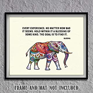 Buddha Quotes & Color Elephant Art Print -
